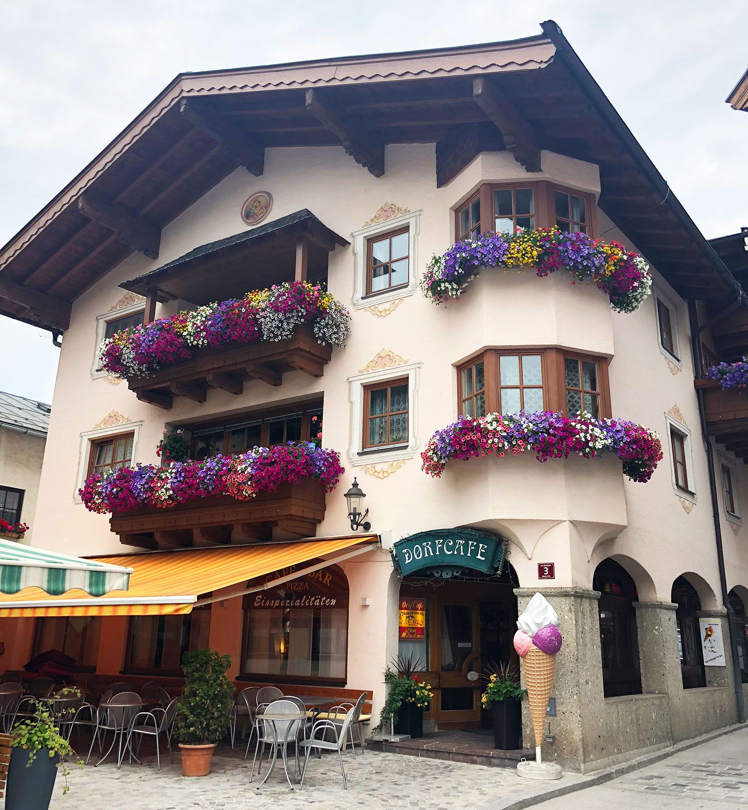 Window box flower displays in Austria