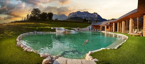 Swimming pool, Natural landscape, Nature, Water, Property, Resort, Leisure, Mountain, Resort town, Vacation,