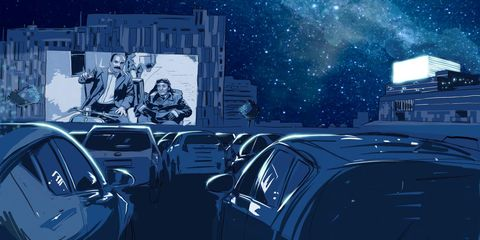 dibujo de lorenzo caudevilla del autocine del festival internacional de cine de huesca