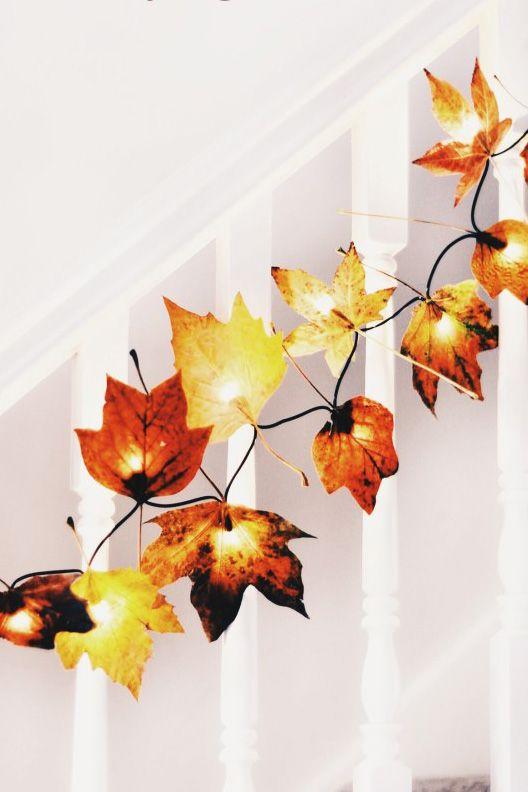 fall leaf craft autumn leaf fairy lights
