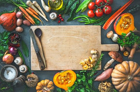 Autumn vegetables ingredients for tasty Thanksgiving or Christmas dishes