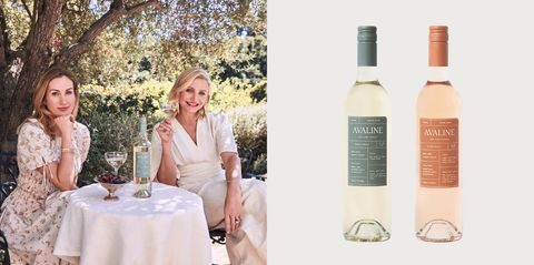 cameron diaz and katherine power drinking their avaline wine