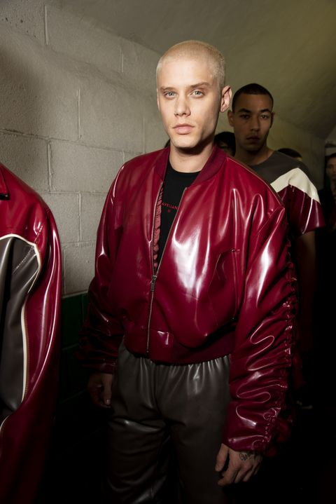 Red, Outerwear, Jacket, Textile, Muscle, Leather jacket,