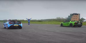 Lamborghini Aventador Roadster vs McLaren 720S Spider drag race