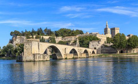 Rhone River cruise:Avignon Bridge with Popes Palace, Pont Saint-Benezet, Provence