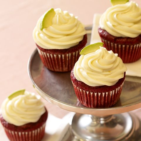 Avocado Red Velvet Mini Cupcakes with Honey Avocado Frosting