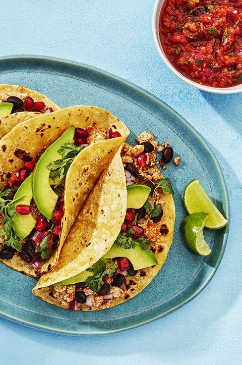 Dish, Food, Cuisine, Taco, Korean taco, Ingredient, Produce, Staple food, Vegetarian food, Recipe,