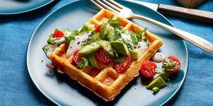 savory corn waffles with avocado and tomato