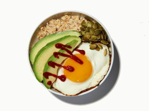Avocado toast oatmeal with fried egg