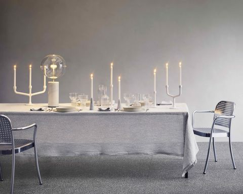 christmas dining table with white pieces, society limonta