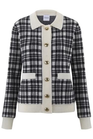 madeleine thompson black and white checked gingham knitted cardigan knitwear