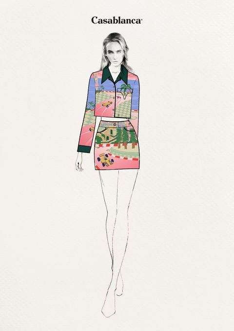 printed satin and hand quilted skirt and jacket with corduroy collar