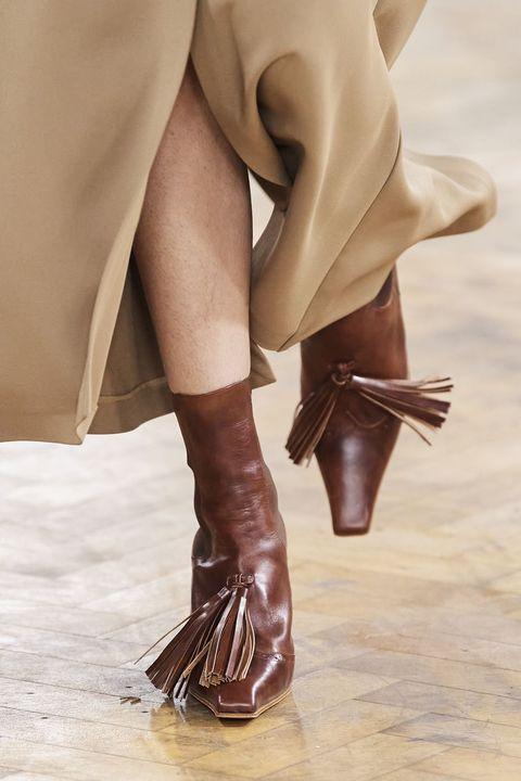 Brown, Human leg, Joint, Fashion accessory, Fashion, High heels, Liver, Tan, Khaki, Leather,