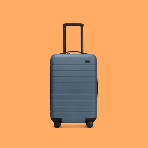 Suitcase, Hand luggage, Baggage, Orange, Bag, Luggage and bags, Rolling, Travel, Wheel,