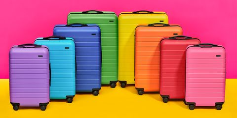 Suitcase, Magenta, Hand luggage, Yellow, Baggage, Material property, Plastic, Luggage and bags,