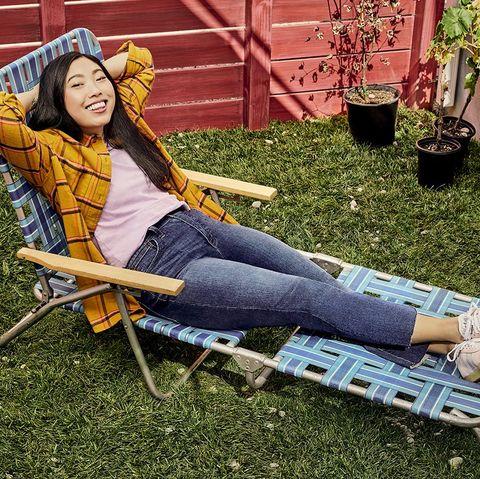 Sitting, Yellow, Grass, Tree, Leisure, Leg, Furniture, Photography, Denim, Jeans,