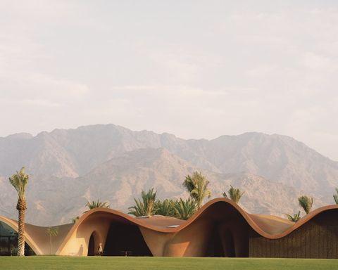 Natural environment, Desert, Landscape, Ecoregion, Sand, Tree, Oasis, Sky, Aeolian landform, Hill,