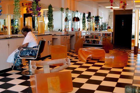 Lobby, Floor, Restaurant, Flooring, Building, Interior design, Furniture, Room, Table, Chair,