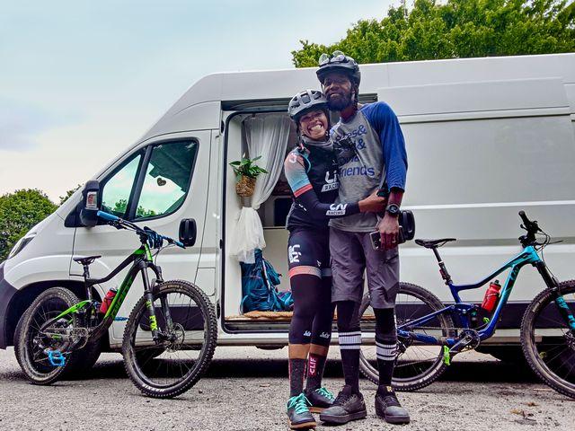 ayesha mcgowan and husband will on their honeymoon in a bike park