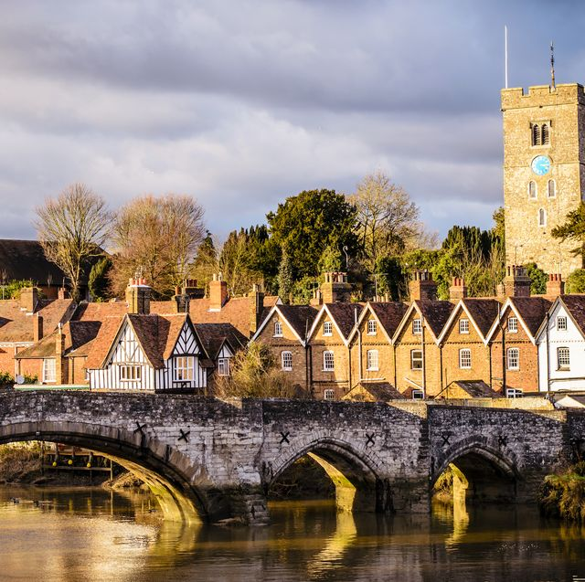 historic aylesford bridge in kent, england bathed in a warm autumn sunset glow