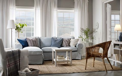 Living room, Furniture, Room, Interior design, Property, Coffee table, Couch, Table, Curtain, Building,