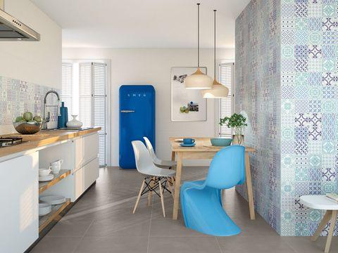 Blue, Wood, Room, Floor, Interior design, Green, Lighting, Flooring, Property, Home,