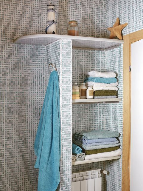 Shelf, Shelving, Room, Furniture, Turquoise, Blue, Aqua, Towel, Bathroom, Wall,