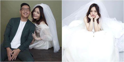 Photograph, Veil, Skin, Beauty, Hairstyle, Wedding dress, Dress, Formal wear, Bride, Long hair,