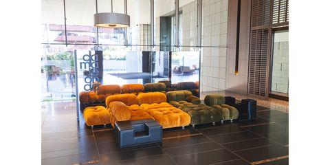 Floor, Flooring, Interior design, Room, Wall, Couch, Ceiling, Interior design, Glass, Fixture,