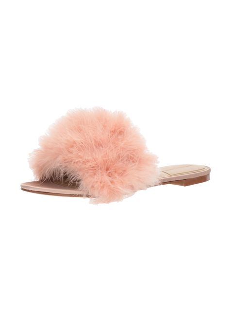 Pink, Fur, Footwear, Costume accessory, Beige, Headgear, Feather, Costume, Fashion accessory, Cap,