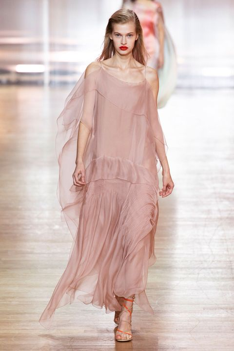 Fashion show, Fashion model, Fashion, Runway, Clothing, Shoulder, Pink, Haute couture, Dress, Long hair,