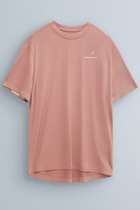 Clothing, T-shirt, Pink, Sleeve, Peach, Orange, Blouse, Top, Neck, Active shirt,