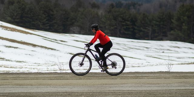cyclist laura king out during a winter bike ride while pregnant