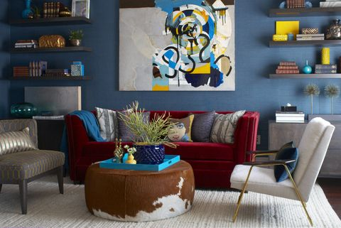 Living room, Room, Blue, Furniture, Wall, Interior design, Couch, Shelf, Turquoise, Table,