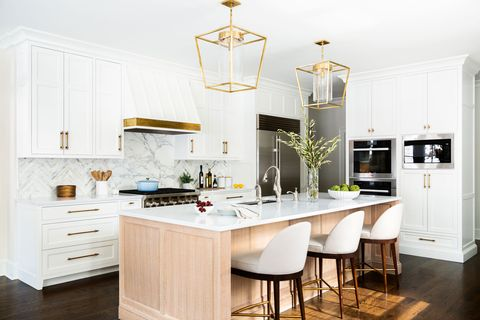 Countertop, Furniture, White, Room, Kitchen, Cabinetry, Property, Interior design, Yellow, Floor,