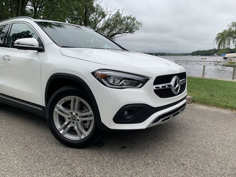 take a look at the 2021 mercedes benz gla 250 in white, in michigan