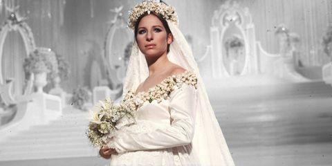 Wedding dress, Bride, Clothing, Dress, Gown, Bridal clothing, Headpiece, Bridal accessory, Fashion model, Veil,