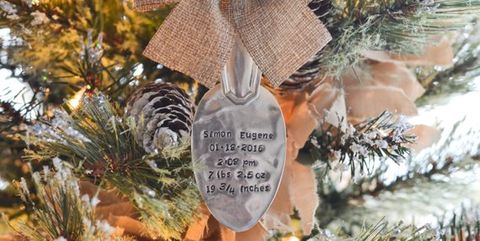 babys first christmas ornament mountain bird banners stamped spoon
