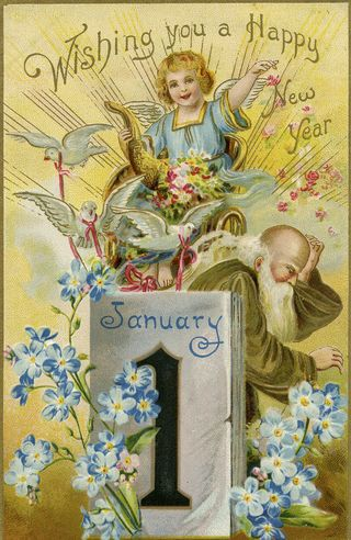 illustration for new year postcard featuring old father time and baby new year with calendar showing january 1