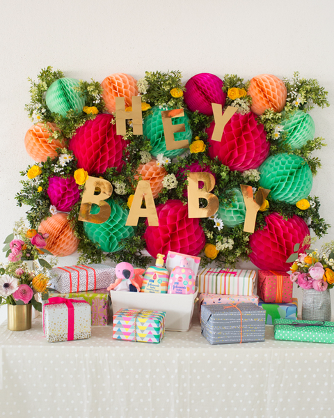 baby shower ideas floral honeycomb decor