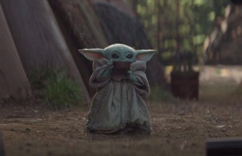 Baby Yoda drinking soup is the perfect meme for describing your mum at Christmas