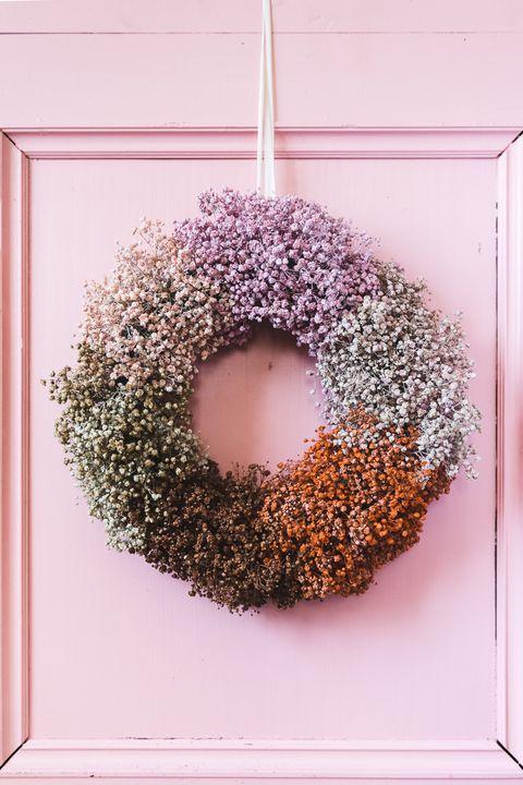 diy babys breath fall wreath
