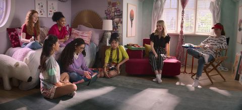 vivian watson as mallory pike, kyndra sanchez as dawn schafer, anais lee as jessi ramsey, malia baker as mary anne spier, momona tamada as claudia kishi, shay rudolph as stacey mcgill, and sophie grace as kristy thomas in episode 201 of the baby sitters club