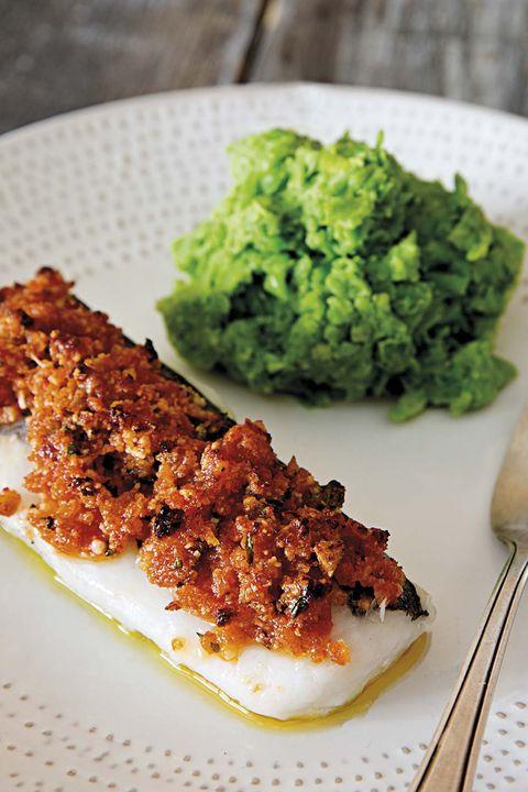 menú gourmet bacalao al horno con puré de guisantes