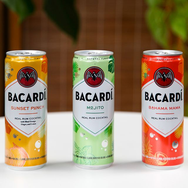 bacardi bahama mama, mojito, and sunset punch real rum canned cocktails