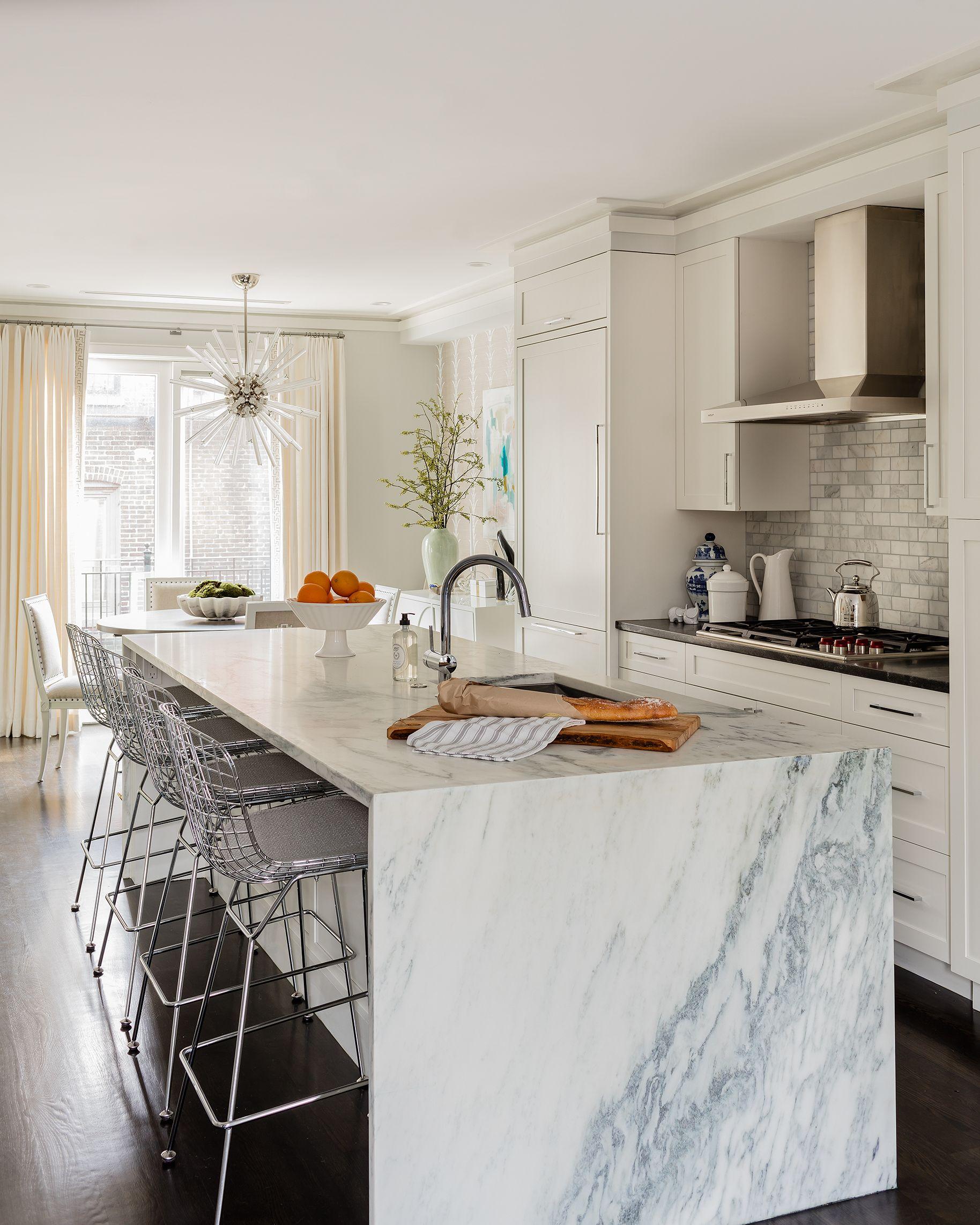 High End White Kitchen: Bachelorette Boston Apartment