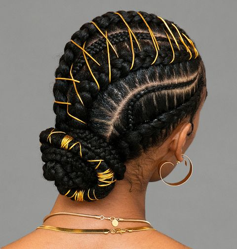 Braided Bun Braided Hairstyles Braided buns for men are trending in 2021! um this braided bun with gold stitching is definitely the next style you need to try