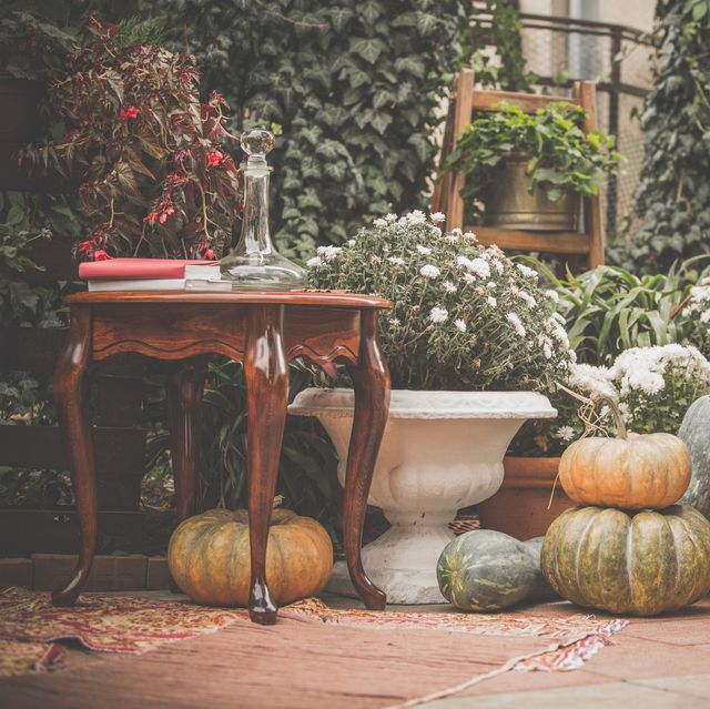 back porch with fall decor