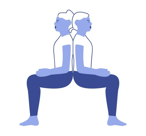Couples yoga poses: back to back chair