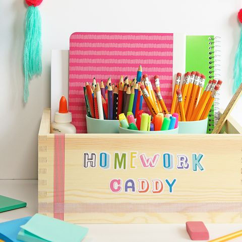 back to school craft homework caddy